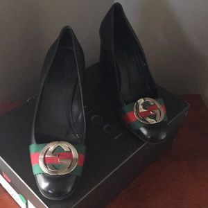 Authentic Gucci Heels with Logo on Front
